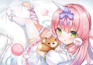 Rating: Safe Score: 35 Tags: blush bow dress ginn_(hzh770121) green_eyes horns loli long_hair pink_hair signed tagme_(character) teddy_bear thighhighs User: BattlequeenYume