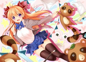 Rating: Safe Score: 166 Tags: bow gekkan_shoujo_nozaki-kun orange_hair panties purple_eyes sakura_chiyo school_uniform tagme_(artist) teddy_bear thighhighs underwear User: humanpinka