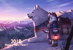 Rating: Safe Score: 68 Tags: animal animal_ears boots brown_hair dog doggirl esukee original purple_eyes scenic snow tail winter User: RyuZU