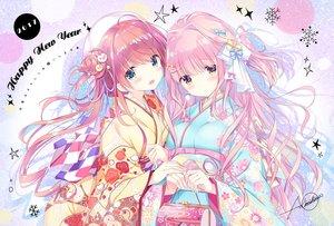 Rating: Safe Score: 73 Tags: 2girls blush brown_hair green_eyes japanese_clothes kimishima_ao kimono long_hair orange_eyes original pink_hair ribbons signed User: RyuZU