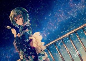 Rating: Safe Score: 95 Tags: anthropomorphism aqua_eyes aqua_hair eyepatch japanese_clothes kantai_collection kimono kiso_(kancolle) long_hair night ponytail signed sky stars yuihira_asu User: mattiasc02