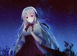 Rating: Safe Score: 67 Tags: blush gloves gray_hair long_hair miyo_(user_zdsp7735) night original red_eyes shirt signed skirt sky stars User: BattlequeenYume