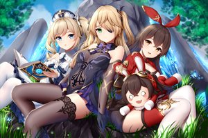 Rating: Safe Score: 154 Tags: amber_(genshin_impact) barbara_(genshin_impact) blonde_hair blue_eyes book brown_hair butterfly clouds eyepatch fischl_(genshin_impact) genshin_impact gloves grass green_eyes long_hair sky thighhighs twintails wsman User: BattlequeenYume