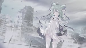 Rating: Safe Score: 53 Tags: bandage clouds dress food gray green_hair nroy- original polychromatic ribbons ruins sky thighhighs zettai_ryouiki User: BattlequeenYume