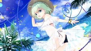 Rating: Safe Score: 41 Tags: ass beach bikini blue_eyes chikawa_shibainu clouds dress green_hair hat komeiji_koishi navel see_through short_hair sky swimsuit touhou water User: BattlequeenYume