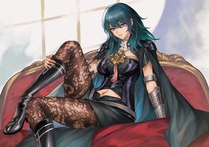 Rating: Safe Score: 89 Tags: aqua_hair blue_eyes boots byleth_(female) cape fire_emblem long_hair pantyhose pengnangehao User: FormX