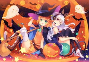 Rating: Safe Score: 45 Tags: 2girls aliasing animal bat boots candy cape gloves green_eyes halloween hat headphones long_hair microphone orange_hair pumpkin shinia short_hair skirt stars tail thighhighs white_hair witch_hat User: RyuZU
