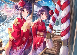 Rating: Safe Score: 78 Tags: 2girls blush clouds flowers gejigejier girl_cafe_gun_(game) japanese_clothes kimono purple_hair red_eyes rope short_hair shrine sky snow snowman tree twins winter User: BattlequeenYume