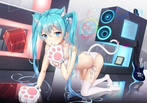 Rating: Safe Score: 111 Tags: airjun animal_ears catgirl guitar hatsune_miku instrument long_hair tail thighhighs twintails underwear vocaloid watermark User: sadodere-chan