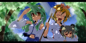 Rating: Safe Score: 39 Tags: animal_ears blonde_hair gray_hair green_hair japanese_clothes kochiya_sanae miko mousegirl nazrin red_eyes tagme_(artist) toramaru_shou touhou tree yellow_eyes User: mikucchi