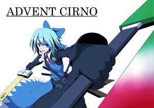 Rating: Safe Score: 20 Tags: advent_cirno blue_eyes blue_hair bow cirno keroro_gunsou sergeant_keroro short_hair sword touhou weapon User: korokun