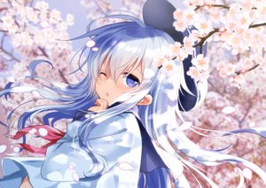Rating: Safe Score: 68 Tags: anthropomorphism blue_eyes cherry_blossoms close flowers gray_hair hat hibiki_(kancolle) kantai_collection long_hair motohara_moka petals school_uniform wink User: RyuZU
