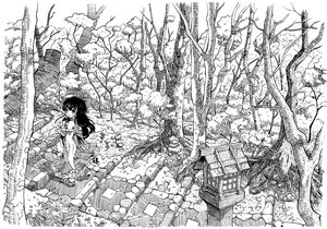 Rating: Safe Score: 29 Tags: etogami_kazuya forest hakurei_reimu japanese_clothes long_hair miko monochrome touhou tree User: PAIIS