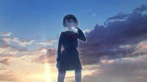Rating: Safe Score: 27 Tags: aqua_eyes atuhi bandaid black_hair clouds crying original school_uniform short_hair signed skirt sky sunset User: RyuZU
