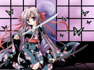 Rating: Safe Score: 11 Tags: butterfly gray_hair japanese_clothes long_hair minase_lin moon purple_eyes sword weapon User: Oyashiro-sama