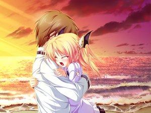 Rating: Safe Score: 49 Tags: beach blonde_hair blush clouds crying game_cg hug magus_tale nina_geminis school_uniform sky tears tenmaso twintails whirlpool User: Oyashiro-sama