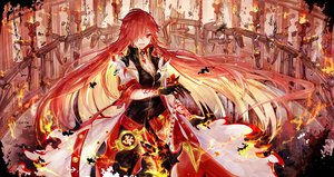 Rating: Safe Score: 110 Tags: bai_qi-qsr breasts chain choker cleavage elesis_(elsword) elsword fire gloves long_hair magic necklace red_eyes red_hair sword tattoo weapon User: luckyluna