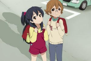 Rating: Safe Score: 16 Tags: black_hair brown_eyes brown_hair car glasses kitashirakawa_anko loli long_hair male market) ponytail servachok short_hair tamako_market yuzuki_(tamako_market) User: RyuZU