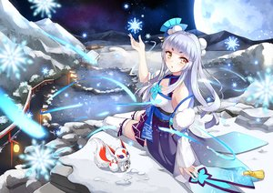 Rating: Safe Score: 55 Tags: animal_ears breasts cleavage japanese_clothes long_hair original snow teichi thighhighs water white_hair yellow_eyes User: RyuZU