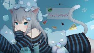 Rating: Safe Score: 89 Tags: amashiro_natsuki animal_ears aqua_eyes catgirl gray_hair long_hair nacho_neko original tail User: BattlequeenYume