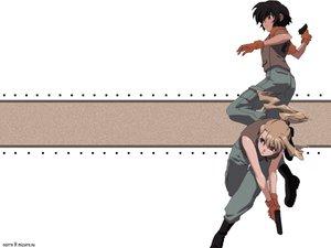 Rating: Safe Score: 8 Tags: black_hair blonde_hair gun mireille_bouquet noir weapon yuumura_kirika User: Oyashiro-sama