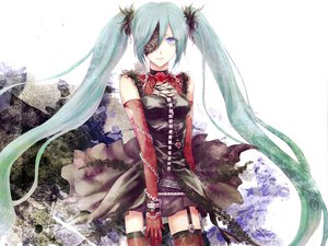 Rating: Safe Score: 92 Tags: aqua_hair blue_eyes chain elbow_gloves flowers gloves hatsune_miku hitoha rose skirt thighhighs twintails vocaloid white User: MissBMoon