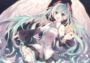 Rating: Safe Score: 61 Tags: aqua_eyes aqua_hair hatsune_miku long_hair skirt stars tagme_(artist) tattoo thighhighs tie vocaloid wings User: otaku_emmy