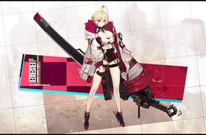 Rating: Safe Score: 39 Tags: blonde_hair boots breasts cleavage duto garter gloves gun original red_eyes short_hair shorts weapon User: Dreista