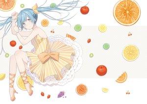 Rating: Safe Score: 123 Tags: apple bow dress food fruit hatsune_miku nagitoki twintails vocaloid wristwear User: FormX