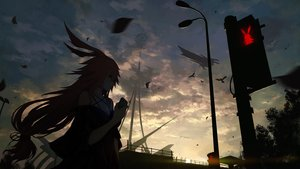 Rating: Safe Score: 148 Tags: aircraft animal animal_ears bird clouds dark dress honkai_impact hoshi_o_mite long_hair phone pink_hair sky yae_sakura_(benghuai_xueyuan) User: BattlequeenYume