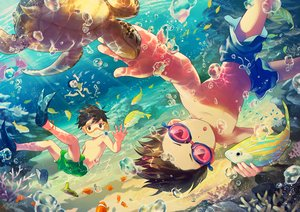 Rating: Safe Score: 29 Tags: all_male animal brown_eyes brown_hair bubbles fish male noeyebrow_(mauve) original short_hair shorts signed turtle underwater water User: RyuZU