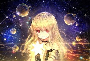 Rating: Safe Score: 91 Tags: blonde_hair bubbles catbell flowers long_hair red_eyes space stars tagme_(character) User: BattlequeenYume