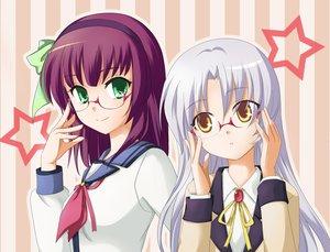 Rating: Safe Score: 63 Tags: 2girls angel_beats! glasses green_eyes long_hair nakamura_yuri purple_hair school_uniform tachibana_kanade white_hair yellow_eyes User: HawthorneKitty