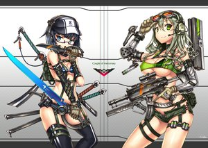 Rating: Safe Score: 206 Tags: 2girls bikini_top blue_eyes blue_hair breasts choker cleavage gia glasses gloves goggles green_eyes green_hair gun hat headphones katana original short_hair shorts signed sword thighhighs underboob weapon User: FormX
