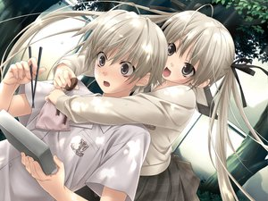 Rating: Safe Score: 117 Tags: food game_cg hashimoto_takashi kasugano_haruka kasugano_sora ribbons school_uniform sphere twintails yosuga_no_sora User: Wiresetc