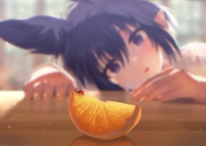 Rating: Safe Score: 98 Tags: animal animal_ears blue_hair close food fruit mano_(narumi_arata) narumi_arata orange_(fruit) original pointed_ears purple_eyes short_hair User: BattlequeenYume