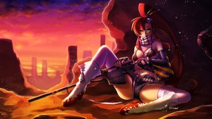 Rating: Safe Score: 60 Tags: bikini_top breasts cleavage clouds eudetenis gun long_hair ponytail red_hair scarf shorts signed sky sunset tengen_toppa_gurren_lagann thighhighs weapon yellow_eyes yoko_littner User: BattlequeenYume