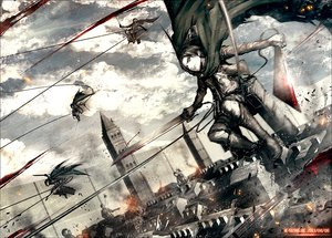 Rating: Safe Score: 93 Tags: cape clouds kei-suwabe levi_ackerman shingeki_no_kyojin sky sword weapon User: FormX