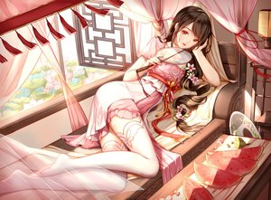 Rating: Safe Score: 114 Tags: black_hair brown_eyes chinese_clothes clouble dress fan flowers food fruit long_hair original ponytail thighhighs watermelon User: BattlequeenYume