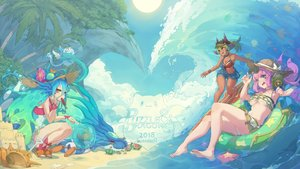 Rating: Safe Score: 54 Tags: barefoot beach bikini blue_hair book clouds dark_skin flowers food green_eyes green_hair hat ice_cream kurokitsune long_hair navel orange_eyes pink_hair ponytail puzzle_&_dragons sky sunglasses swimsuit tagme_(character) tree underboob water User: BattlequeenYume