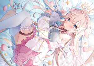 Rating: Safe Score: 111 Tags: aliasing amamori_naco angel blanche_fleur blue_eyes blush crown dress food garter halo kanda_done long_hair tail thighhighs wings User: BattlequeenYume