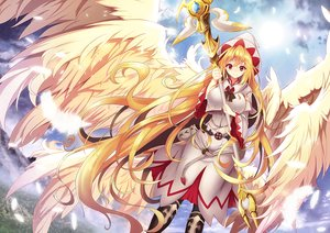 Rating: Safe Score: 46 Tags: blonde_hair boots clouds feathers hat lily_white long_hair orange_eyes sky touhou weapon wings z.o.b User: RyuZU