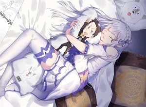 Rating: Safe Score: 97 Tags: braids emilia_(re:zero) long_hair natsuki_subaru puck re:zero_kara_hajimeru_isekai_seikatsu skirt sleeping tagme_(artist) thighhighs white_hair User: RyuZU