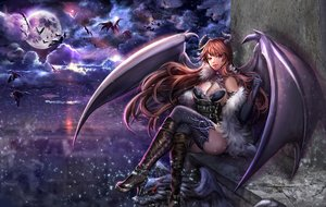 Rating: Safe Score: 184 Tags: animal bat boots breasts brown_hair cleavage clouds demon elbow_gloves horns long_hair moon night original pink_eyes sangrde thighhighs wings User: Flandre93