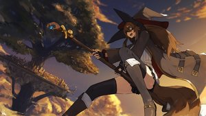 Rating: Safe Score: 67 Tags: boots brown_hair clouds fang gloves goggles hat lansane long_hair orange_eyes original signed sky tail thighhighs tree witch witch_hat User: RyuZU