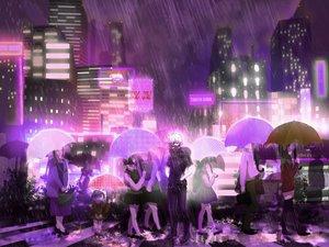 Rating: Safe Score: 38 Tags: building city group kaneki_ken male night polychromatic purple rain tokyo_ghoul umbrella water User: humanpinka