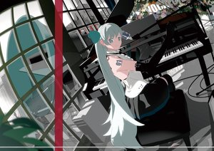 Rating: Safe Score: 117 Tags: bthx computer elbow_gloves gloves gray_eyes gray_hair guitar hatsune_miku instrument long_hair microphone piano twintails vocaloid User: FormX