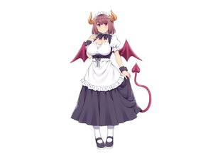 Rating: Safe Score: 31 Tags: amane_hasuhito apron bow breasts brown_hair cleavage demon dress headdress horns maid original red_eyes short_hair skirt_lift tail white wings wristwear User: otaku_emmy