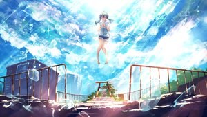 Rating: Safe Score: 29 Tags: amano_hina clouds goroku hoodie shorts sky tenki_no_ko torii twintails User: FormX
