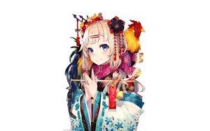 Rating: Safe Score: 94 Tags: animal bird blonde_hair blue_eyes blush flowers japanese_clothes long_hair mika_pikazo original scarf white User: RyuZU